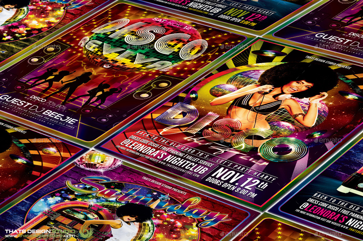 disco music flyer bundle v by lou graphicriver night fever flyer template jpg