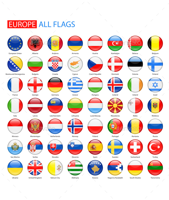 Glossy Round Flags of Europe