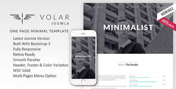 Image of Volar | One Page Minimal Parallax Joomla Template