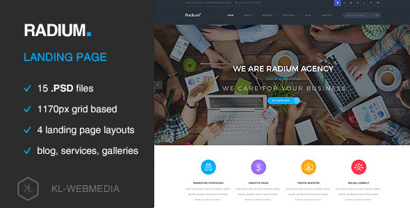 Radium – Creative Landing Page PSD Template (Creative) images