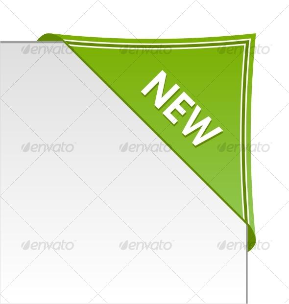 New green corner business ribbon - Decorative Symbols Decorative