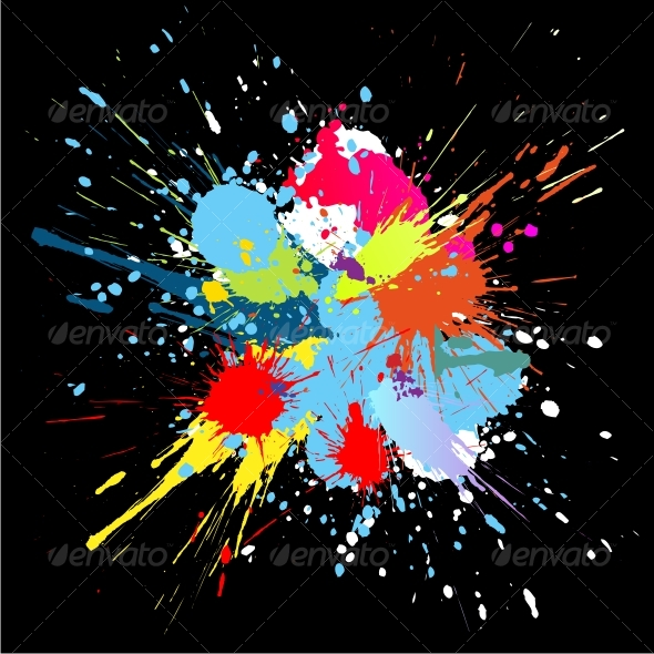 Colourful bright ink splat design at black . - Abstract Conceptual