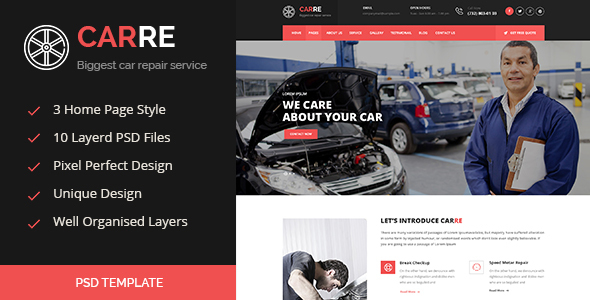 CARRE – Auto Mechanic & Car Repair PSD  (Business) images