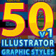 50 Illustrator Graphic Styles Bundle Vol.1