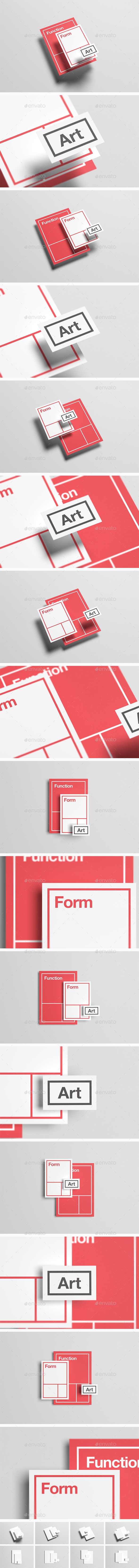 Floating Stationery Mock-Up  - A4, A5, Business Card (Stationery)