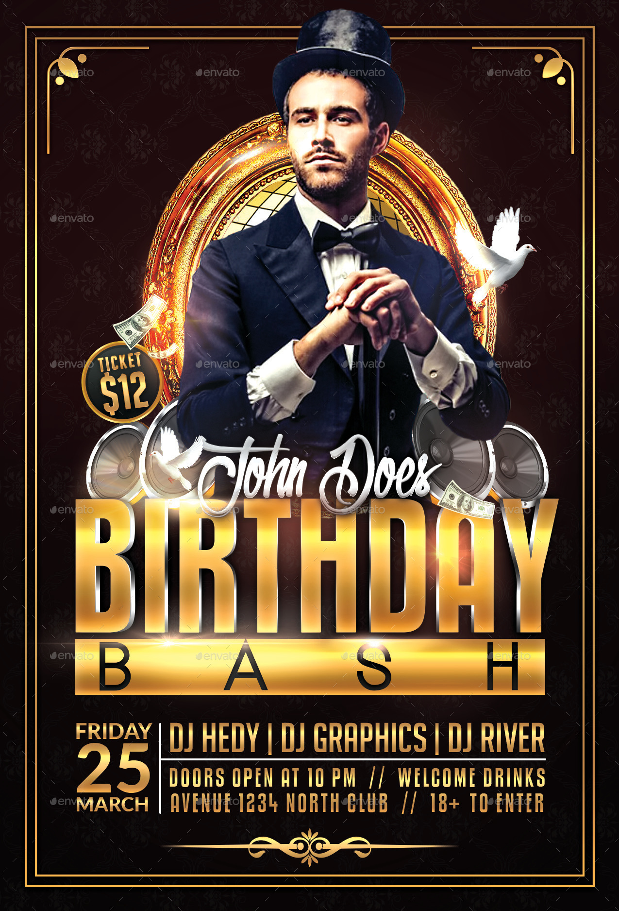 Birthday Bash Flyer Template by HedyGraphics – Birthday Flyers Template