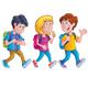 Kids Walking with Backpacks