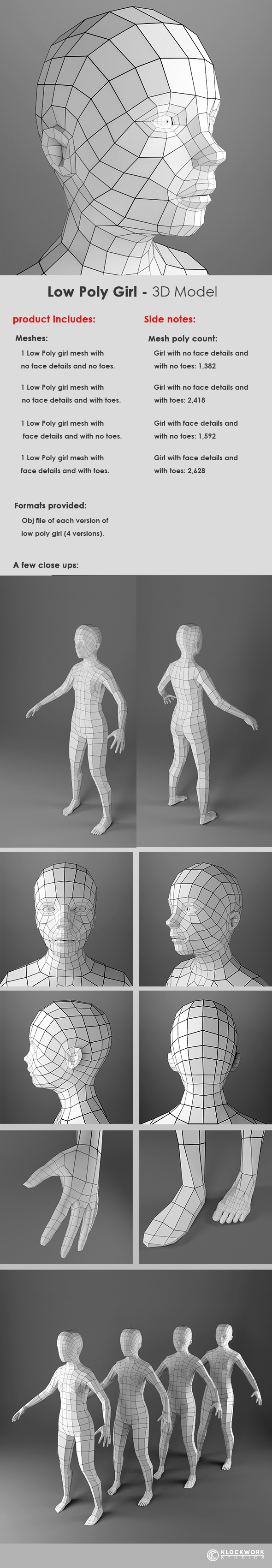 Low Poly Girl Base Mesh - 3DOcean Item for Sale