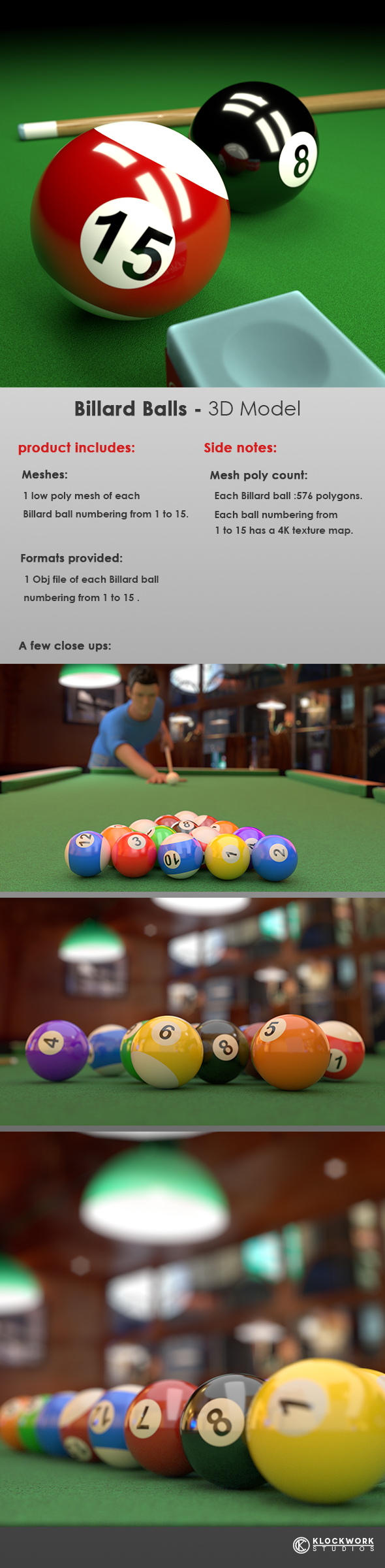 Billard Balls  - 3DOcean Item for Sale