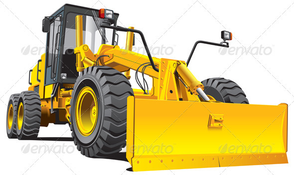 Yellow Roadgrader - Objects Vectors