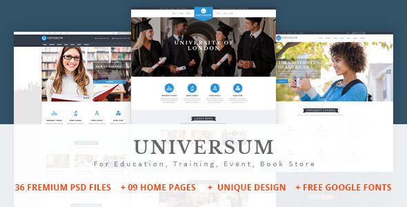 UNIVERSUM – Education, Event and Course PSD Template (Business) images