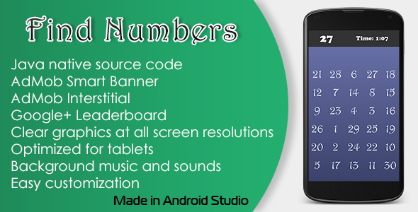 Find Numbers Game with AdMob and Leaderboard - CodeCanyon Item for Sale