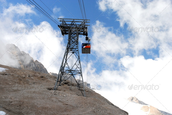 cable lift, italian mountain landscape, Dolomiti - Stock Photo - Images