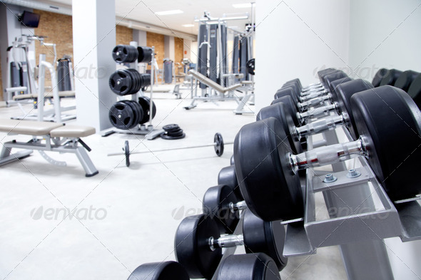 Fitness club weight training equipment gym - Stock Photo - Images