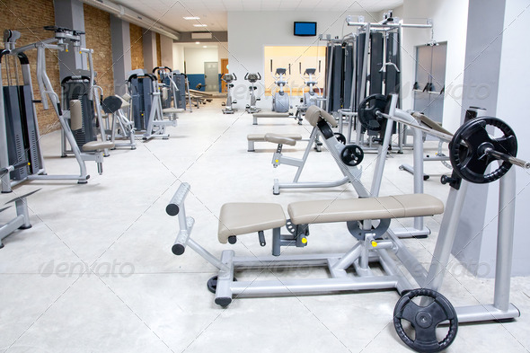 PhotoDune Fitness club gym with sport equipment interior 1445576