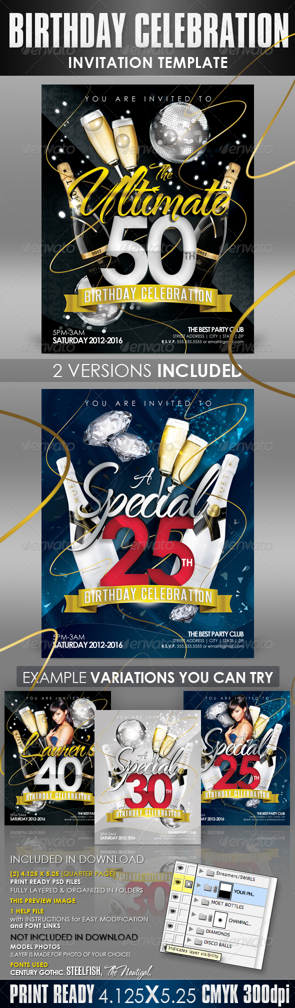 GraphicRiver Birthday Invitation Templates Club Flyer Style 1401526