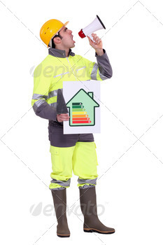 Builder with energy rating poster shouting through megaphone