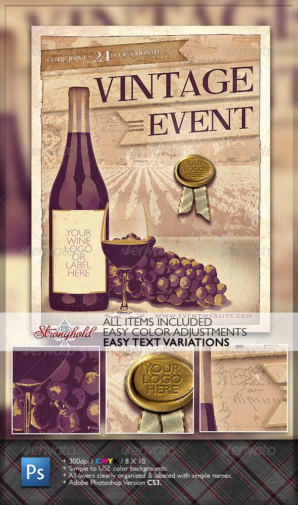 Vintage Wine Event Flyer
