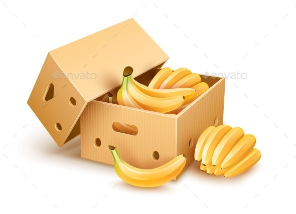 Cardboard Box with Banana Fruits