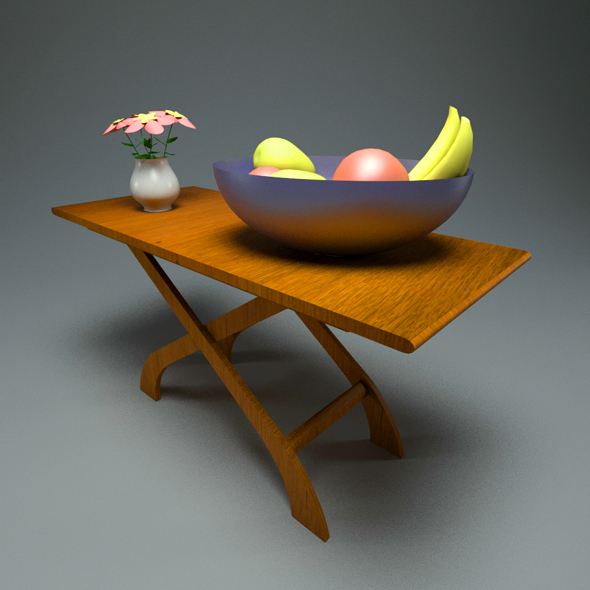 Wooden Coffe Table + Materials - 3DOcean Item for Sale