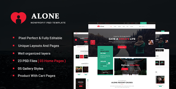 Alone – Multipurpose Non-profit PSD Template (Nonprofit) images