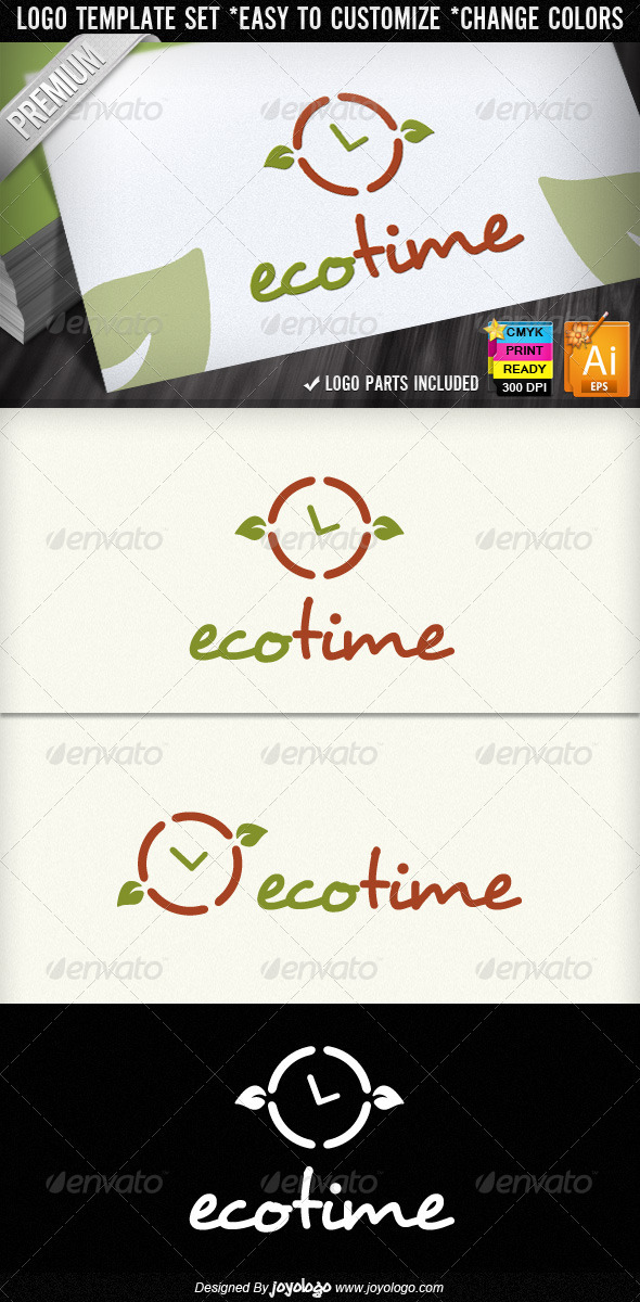 Eco Time Organic Leaf Ecology Logo Designs
