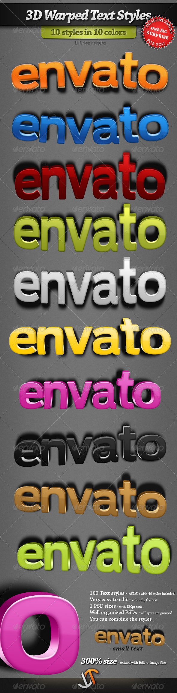 GraphicRiver 3D Warped Text Styles 170622