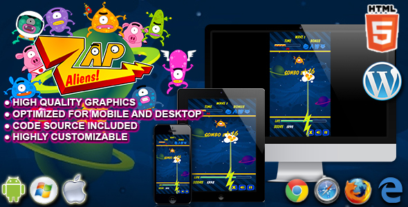 Download Zap Aliens - HTML5 Arcade Game nulled download