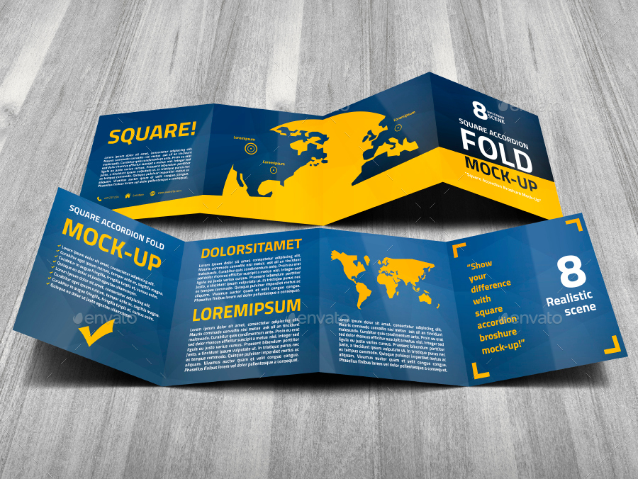 Square Accordion Fold Brochure Mock-Up by Trgyon | GraphicRiver