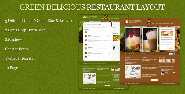Green Delicious Restaurant Layout - Preview