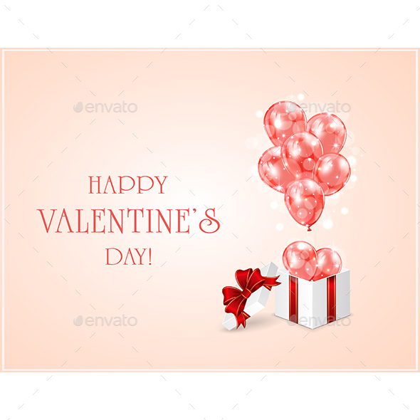 Red Valentines Balloons and Gift Box