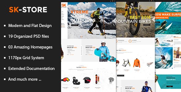 SK Store – Unique Shop PSD Template for Sport and Athletes (Retail) images