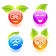 Cute emoticon icons with leaves - GraphicRiver Item for Sale