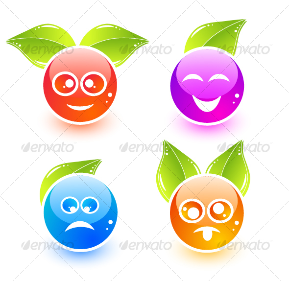 Cute emoticon icons with leaves - Miscellaneous Characters
