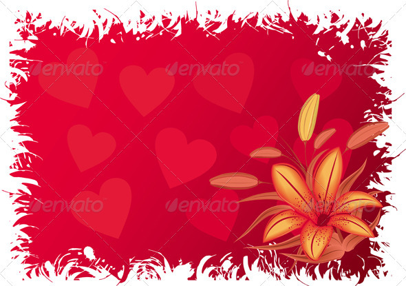 Valentines grunge background with hearts