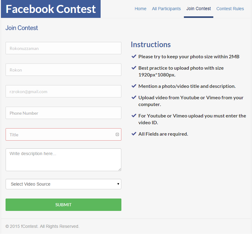 Fcontest facebook photo and video contest app by for Facebook photo contest rules template