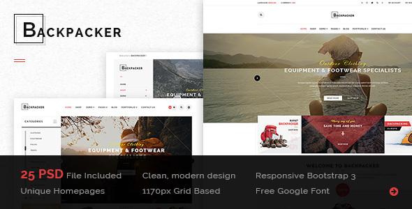 BackPacker – Multipurpose eCommerce PSD Template (Retail) images