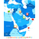 Middle East and Asia Map with Navigation Icons