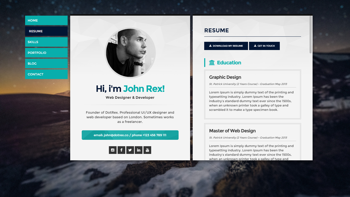 cards  cv  u0026 portfolio wordpress theme by template path