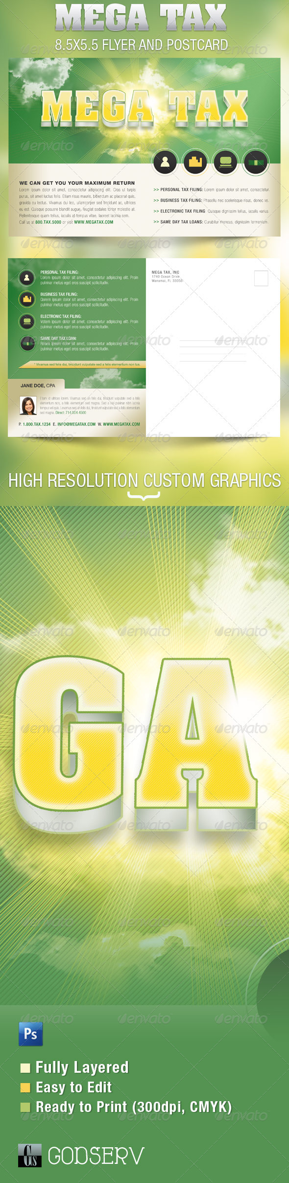 GraphicRiver Mega Tax Flyer and Postcard Photoshop Template 1440188