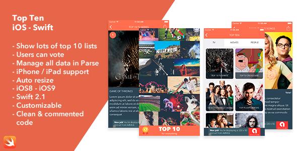 Top Ten - iOS Swift App - CodeCanyon Item for Sale