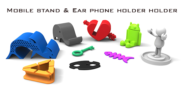 Mobile phone stand and ear phone holder - 3DOcean Item for Sale