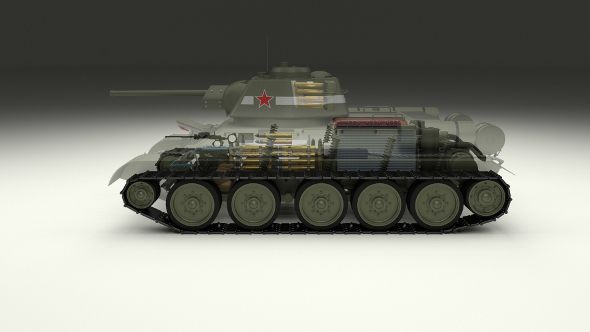 T-34/76 Interior/Engine Bay Full Camo - 3DOcean Item for Sale