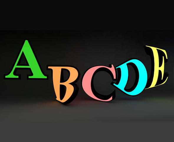 GLOWING AND RIGGED ALPHABET A TO Z - 3DOcean Item for Sale