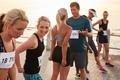 Athletes talking before starting the marathon race