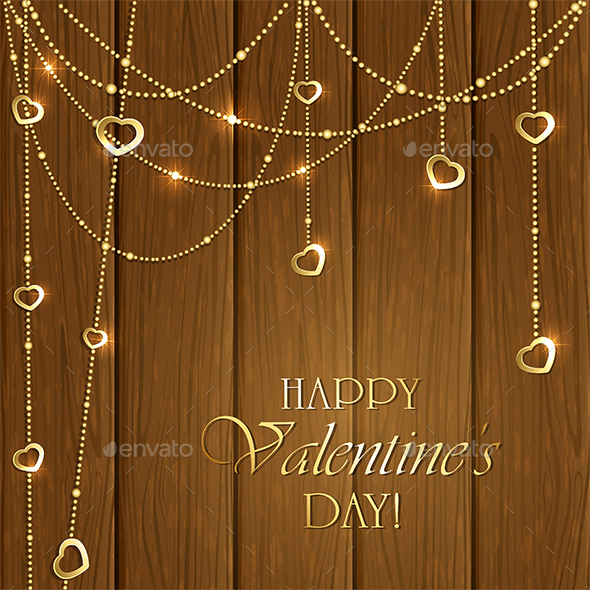 Valentines Decorations on a Wooden Background