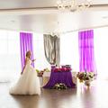 beautiful gorgeous blonde bride  celebrating wedding on the restaurant terrace
