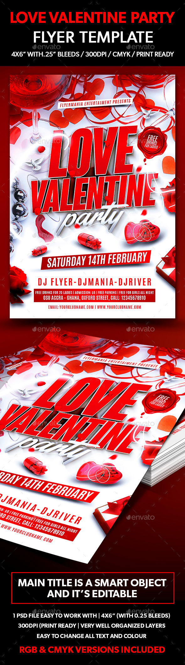 Love Valentine Party Flyer Template