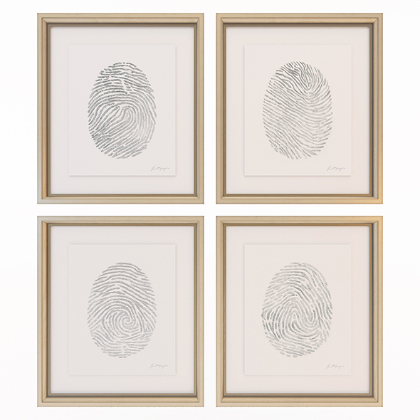 Charlotte Morgan Hand Painted Silver Fingerprints - 3DOcean Item for Sale