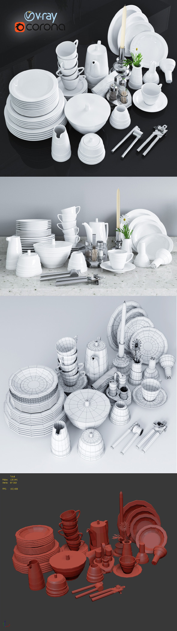 A set of dishes and kitchen appliances - 3DOcean Item for Sale